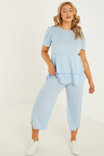 Curve Blue Ribbed Culotte Trousers